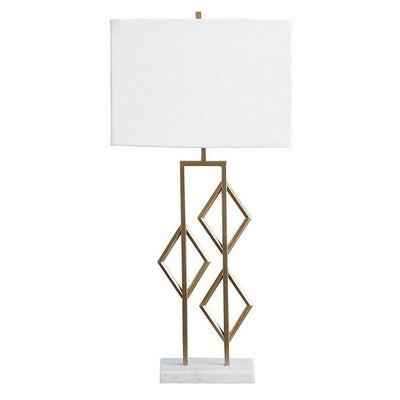 Lattice Frame Table Lamp with Rectangular Shade, White and Gold By Casagear Home