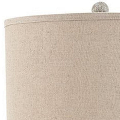 Drum Shade Table Lamp with Pedestal Base Set of 2 Beige and Off White By Casagear Home BM231948