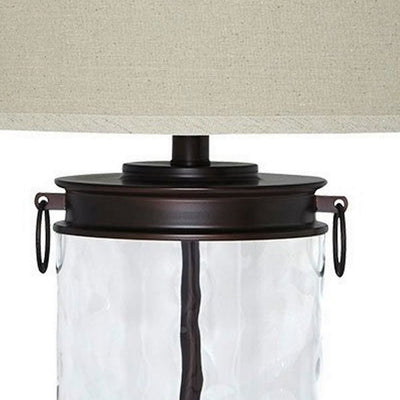 Drum Shade Table Lamp with Glass Insert Base Bronze By Casagear Home BM231953