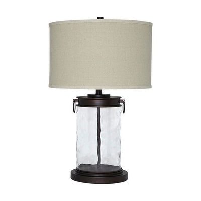 Drum Shade Table Lamp with Glass Insert Base, Bronze By Casagear Home