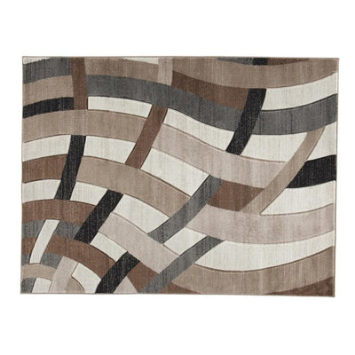 114 x 78 Inches Overlapping Wave Design Polypropylene Rug Multicolor By Casagear Home BM231962