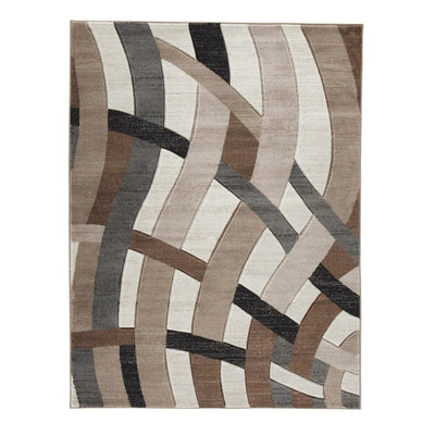 114 x 78 Inches Overlapping Wave Design Polypropylene Rug, Multicolor By Casagear Home