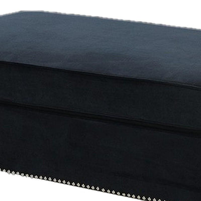 Fabric Ottoman with Nailhead Trim and Turned Feet Black By Casagear Home BM231974