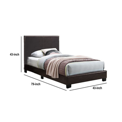 Transitional Style Leatherette Twin Bed with Padded Headboard Dark Brown By Casagear Home BM232004