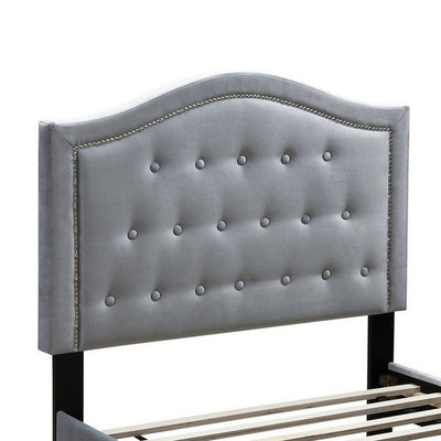 Button Tufted Full Velvet Bed with Curved Headboard Gray By Casagear Home BM232026