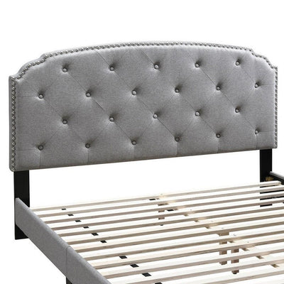 Full Bed with Button Tufted Scalloped Headboard Light Gray By Casagear Home BM232032