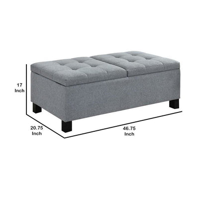 Wooden Ottoman with Hidden Storage Compartment Gray and Black By Casagear Home BM232038