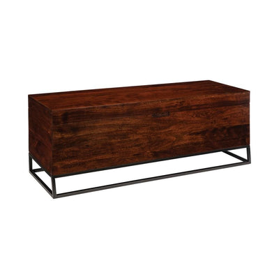 Wooden Bench with Hidden Storage Compartment, Brown and Black By Casagear Home