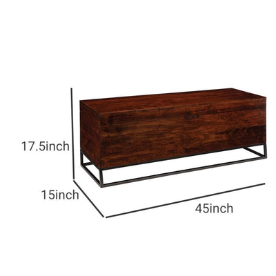 Wooden Bench with Hidden Storage Compartment Brown and Black By Casagear Home BM232043