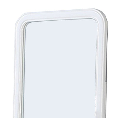 37 Inches Wooden Mirror with Curved Edges White By Casagear Home BM232117