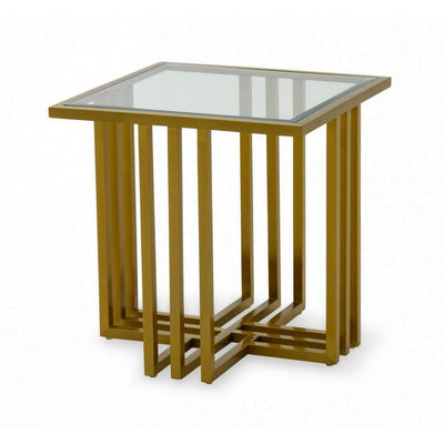 Square Glass Top End Table with Slatted Cross Base, Gold By Casagear Home