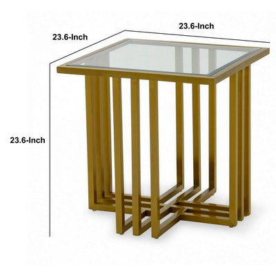 Square Glass Top End Table with Slatted Cross Base Gold By Casagear Home BM232172