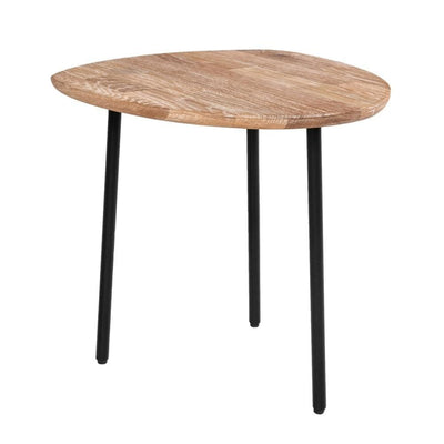 Wooden Top End Table with Metal Legs, Brown and Black By Casagear Home