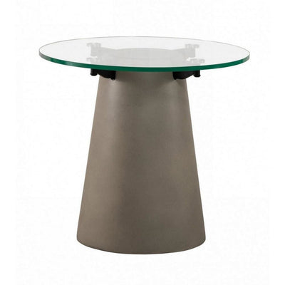 Round Glass Top End Table with Concrete Conical Pedestal Base, Gray By Casagear Home