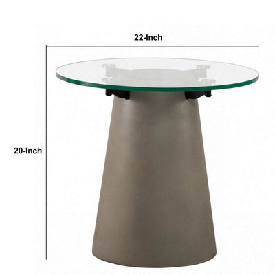 Round Glass Top End Table with Concrete Conical Pedestal Base Gray By Casagear Home BM232178