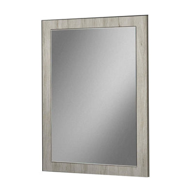 Dual Tone Wall Mirror with Wooden Frame, Black and Gray By Casagear Home