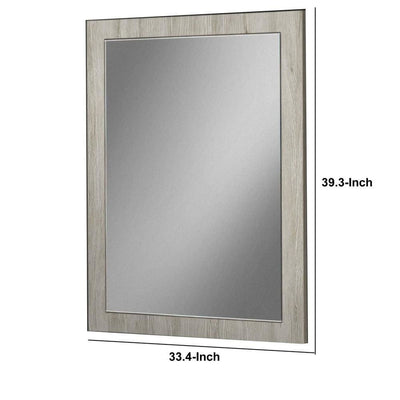 Dual Tone Wall Mirror with Wooden Frame Black and Gray By Casagear Home BM232184