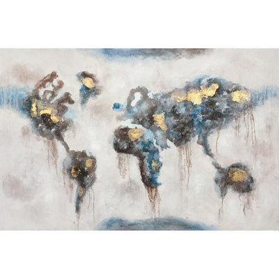 Hand Painted Abstract Oil Canvas Wall Painting, Gray and Blue By Casagear Home