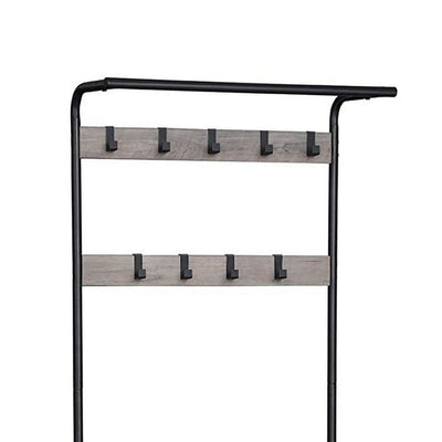 72 Inch Metal Frame Hall Tree with 9 Hooks Brown and Black By Casagear Home BM232209