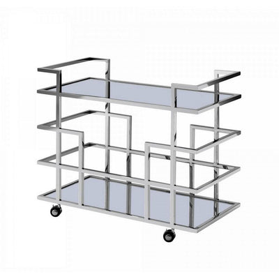 Metal Frame Wine Rack with 2 Mirrored Shelves, Silver By Casagear Home