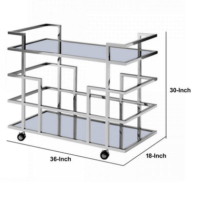 Metal Frame Wine Rack with 2 Mirrored Shelves Silver By Casagear Home BM232220