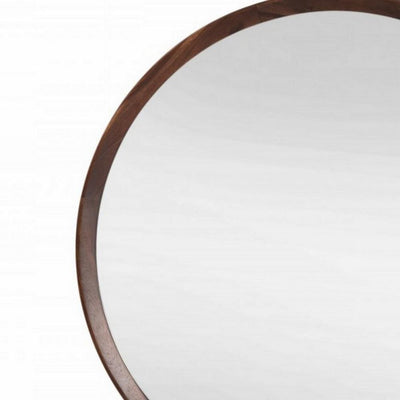 Round Shaped Wooden Wall Mirror with Mounting Hardware Brown By Casagear Home BM232230