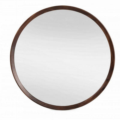 Round Shaped Wooden Wall Mirror with Mounting Hardware, Brown By Casagear Home