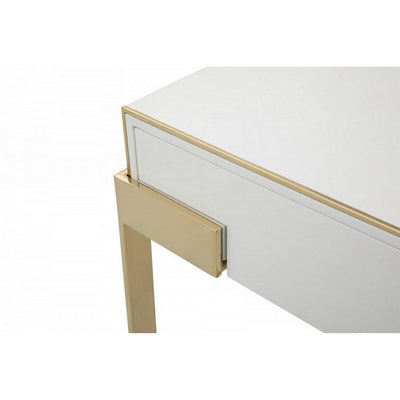 1 Drawer Nightstand with Metal Frame Support Gold and White By Casagear Home BM232237