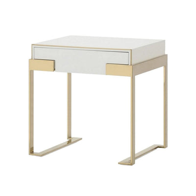 1 Drawer Nightstand with Metal Frame Support, Gold and White By Casagear Home
