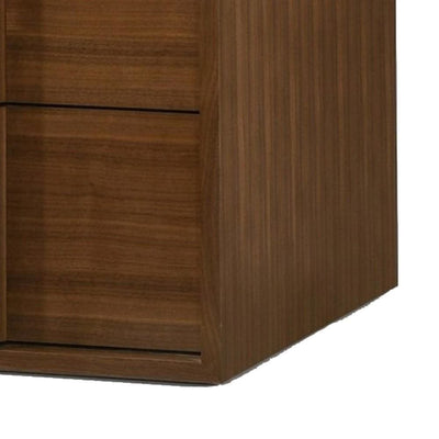 2 Drawer Nightstand with Integrated Wooden Pull Walnut Brown By Casagear Home BM232242