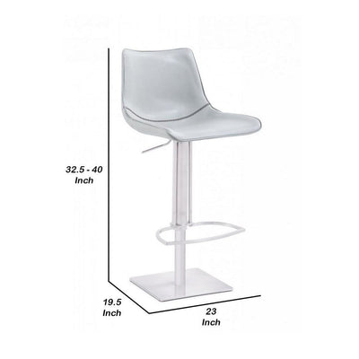 Adjustable Faux Leather Countered Barstool with Contrast Stitching White By Casagear Home BM232278