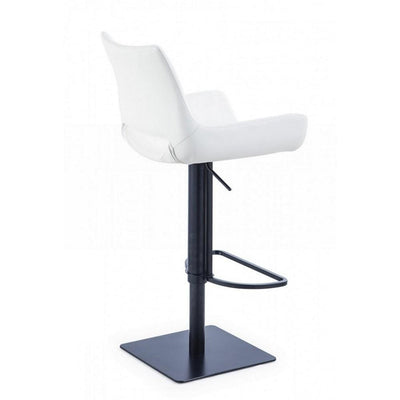 Swivel Faux Leather Bar Stool with Countered Seat White and Black By Casagear Home BM232279