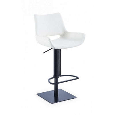 Swivel Faux Leather Bar Stool with Countered Seat, White and Black By Casagear Home