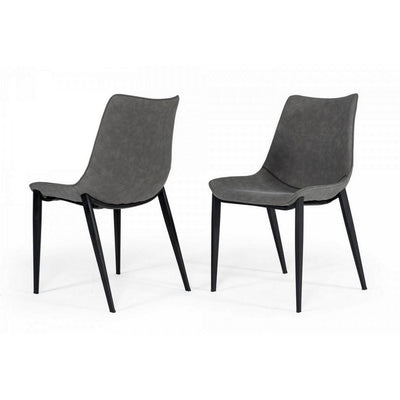 Counter Leatherette Dining Chair with Angled Tapered Legs, Set of 2, Gray By Casagear Home