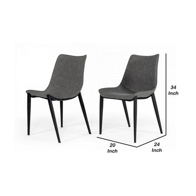 Counter Leatherette Dining Chair with Angled Tapered Legs Set of 2 Gray By Casagear Home BM232287