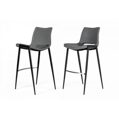 Cut Out Counter Leatherette Barstool with Metal Legs, Set of 2, Gray By Casagear Home