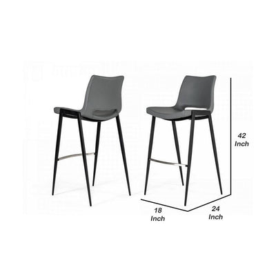 Cut Out Counter Leatherette Barstool with Metal Legs Set of 2 Gray By Casagear Home BM232288