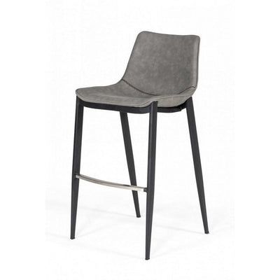 Counter Leatherette Barstool with Angled Tapered Legs Set of 2 Gray By Casagear Home BM232289