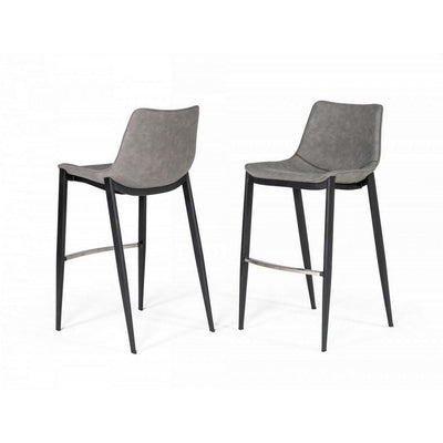 Counter Leatherette Barstool with Angled Tapered Legs, Set of 2, Gray By Casagear Home