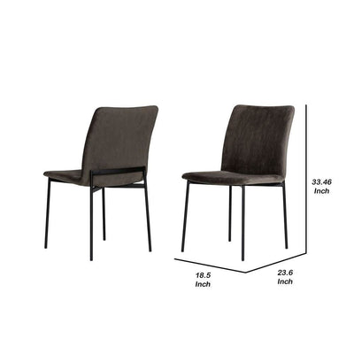 Sleigh Design Fabric Dining Chair with Metal Legs Set of 2 Gray By Casagear Home BM232302