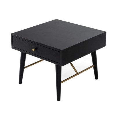 1 Drawer Wooden End Table with Tapered Legs and Metal Support Black By Casagear Home BM232303