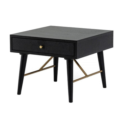 1 Drawer Wooden End Table with Tapered Legs and Metal Support, Black By Casagear Home