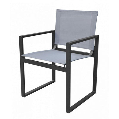 Metal Outdoor Dining Chair with Open Arms and Sled Base, Set of 2, Gray By Casagear Home