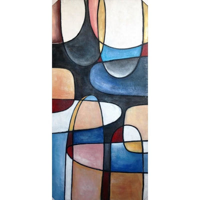 Rectangular Canvas Wrapped Abstract Oil Wall Painting, Multicolor By Casagear Home
