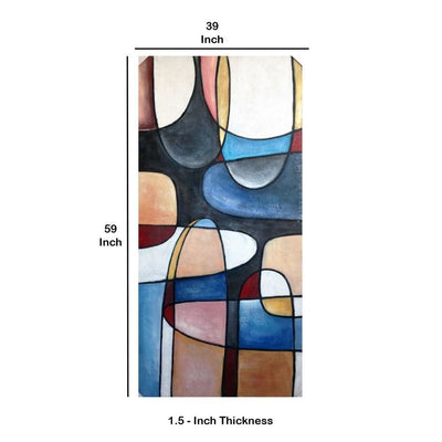 Rectangular Canvas Wrapped Abstract Oil Wall Painting Multicolor By Casagear Home BM232333