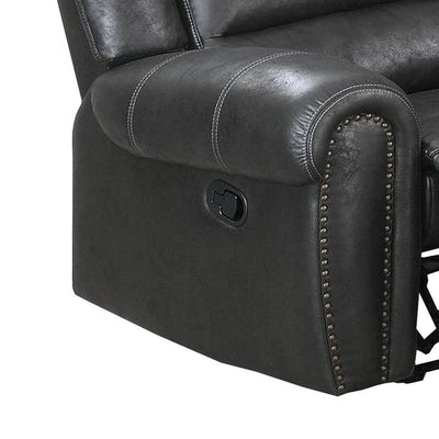 Leatherette Manual Motion Recliner with Tufted Back Black By Casagear Home BM232357