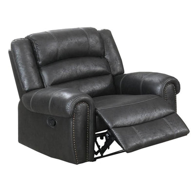 Leatherette Manual Motion Recliner with Tufted Back, Black By Casagear Home