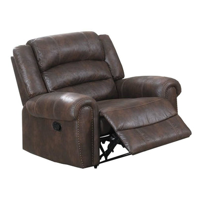 Leatherette Manual Motion Recliner with Tufted Back, Brown By Casagear Home