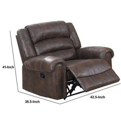 Leatherette Manual Motion Recliner with Tufted Back Brown By Casagear Home BM232358