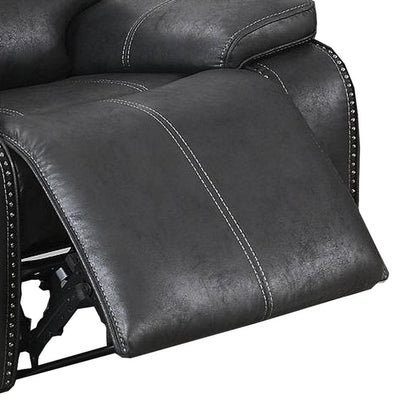 Leatherette Manual Recliner with Stitched Details Black By Casagear Home BM232359